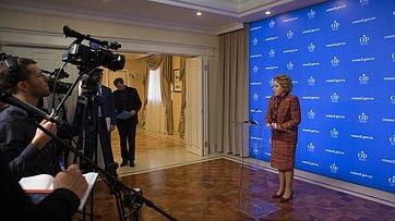 Брифинг В.Матвиенко поитогам встречи сГенеральным секретарем Совета Европы Т.Ягландом