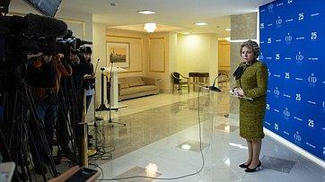 Подход Председателя СФ В.Матвиенко врамках 470-го заседания Совета Федерации