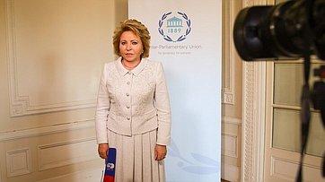 В. Матвиенко подвела итоги встреч сколлегами изМПС