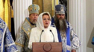 Выступление Валентины Матвиенко наторжественном мероприятии послучаю освящения собора Казанской иконы Божией Матери Богородицкого монастыря