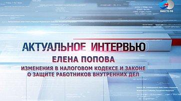 Е. Попова об изменениях в Налоговом кодексе и Законе о защите работников внутренних дел