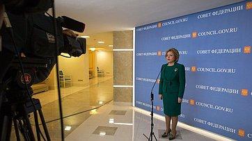 Брифинг В. Матвиенко поитогам 424-го заседания Совета Федерации
