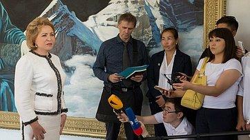 Брифинг Председателя СФ, Председателя Совета МПА СНГ В.Матвиенко поитогам визита вКиргизию