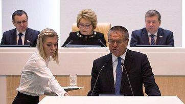 Министр экономического развития РФ А. Улюкаев выступил на399-м заседании Совета Федерации