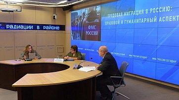 Александр Чекалин и Любовь Глебова  провели мультимедийную пресс-конференцию на тему: «Трудовая миграция в Россию: правовой и гуманитарный аспект» в Пресс-центре МИА «Россия сегодня»
