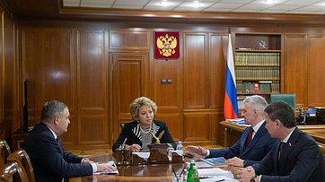 Встреча В.Матвиенко сглавой Республики Карелия А.Парфенчиковым