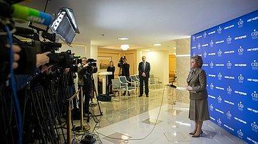 Подход Председателя СФ В.Матвиенко врамках 477-го заседания Совета Федерации