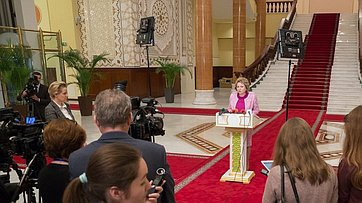Брифинг В.Матвиенко поитогам встречи сПрезидентом Таджикистана Э.Рахмоном