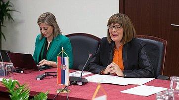 Встреча Председателя СФ В. Матвиенко сПредседателем Народной скупщины Республики Сербии М. Гойкович