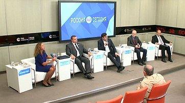 Алексей Кондратьев принял участие впресс-конференции «Гуманитарные миссии российской армии» впресс-центре МИА «Россия сегодня»