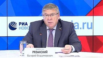 Председатель Комитета Совета Федерации посоциальной политике Валерий Рязанский подвел итоги работы Комитета впериод весенней сессии впресс-центре МИА «Россия сегодня»