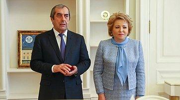 В. Матвиенко иПредседатель парламента Таджикистана М.Убайдуллоев подвели итоги двусторонней встречи